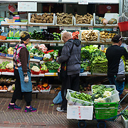 Hong Kong open air market vegetables shop