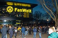 Football - 2018 / 2019 UEFA Champions League - Round of Sixteen, Second Leg: Borussia Dortmund (0) vs. Tottenham Hotspur (3)<br /> <br /> Fans begin to gather with the Dortmund Fan Welt in the background at Signal Iduna Park (Westfalenstadion).<br /> <br /> COLORSPORT/DANIEL BEARHAM