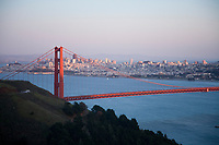 Scenic of Golden Gate Bridge at twighlight. Golden Gate National Recreation Area. San Francisco, CA