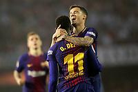 FC Barcelona's Lucas Digne, Ousmane Dembele and Philippe Coutinho celebrate goal during La Liga match. April 17,2018. (ALTERPHOTOS/Acero)