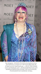 Top designer  ZANDRA RHODES at a fashion show and dinner in London on 16th April 2002.OZA 55