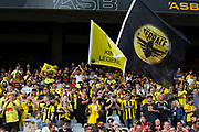 Wellington Phoenix faithfull, during their 1-0 win over Melbourne City FC, during the Hyundai A-League football match, between Wellington Phoenix and Melbourne City FC, held at Eden Park, Auckland, New Zealand.  15  February  2020    Photo: Brett Phibbs / www.photosport.nz