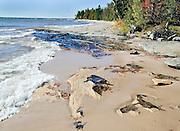Breaking Waves on Beach in Autumn, Lake Superior, MI.