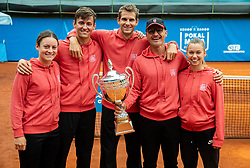 Players of Team East from Ptuj Tamara Zidansek, Blaz Vidovic, Blaz Rola, Zoran Krajnc and Pia Cuk celebrate after winning during Day 3 of tennis tournament Mima Jausovec cup where compete best Slovenian tennis players of the East and West, on June 8, 2020 in RCU Lukovica, Slovenia. Photo by Vid Ponikvar / Sportida