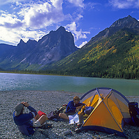CAMPING. Jared Ogden & Jim Zellers at Glacier Lake, by Cirque of the Unclimbables, Northwest Territories,Canada