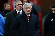 Stoke City Manager Mark Hughes makes his way to the dugout. Premier league match, Stoke City v Liverpool at the Bet365 Stadium in Stoke on Trent, Staffs on Wednesday 29th November 2017.<br /> pic by Chris Stading, Andrew Orchard sports photography.