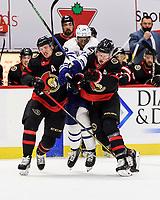 OTTAWA, ON - JANUARY 16: Toronto Maple Leafs Right Wing Wayne Simmonds (24) gets blocked off by Ottawa Senators Defenceman Thomas Chabot (72) and Ottawa Senators Left Wing Brady Tkachuk (7) during the first period of the NHL game between the Ottawa Senators and the Toronto Maple Leafs on January 16, 2021 at the Canadian Tire Centre in Ottawa, Ontario, Canada. (Photo by Steven Kingsman/Icon Sportswire)
