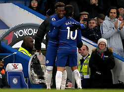 Chelsea's Eden Hazard gives a hug to Callum Hudson-Odoi as he's substituted during the match