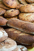 Crusty loaves of organic French- and Italian- style bread at the Common Ground Fair farmers' market, Unity, Maine