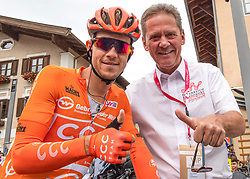 11.07.2019, Kitzbühel, AUT, Ö-Tour, Österreich Radrundfahrt, 5. Etappe, von Bruck an der Glocknerstraße nach Kitzbühel (161,9 km), im Bild v.l. Riccardo Zoidl (AUT, CCC Team) im Gebrüder Weiss Trikot des besten Österreichers, Franz Steinberger (Ö-Tour Direktor) // f.l. Riccardo Zoidl of Austria (CCC Team) wearing the Gebrüder Weiss jersey of the best Austrian rider Franz Steinberger tour direktor tour of Austria during 5th stage from Bruck an der Glocknerstraße to Kitzbühel (161,9 km) of the 2019 Tour of Austria. Kitzbühel, Austria on 2019/07/11. EXPA Pictures © 2019, PhotoCredit: EXPA/ Reinhard Eisenbauer