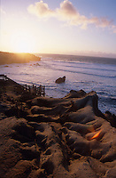 Waves roll into the coast of Sea Ranch, California while the sun sets over the Pacific Ocean.