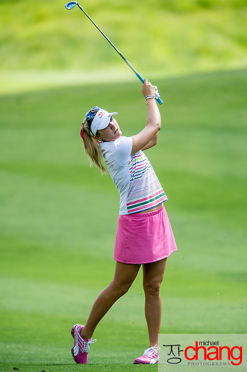 April 28 2012: Lexi Thompson hits her approach shot off the fairway on the 10th hole during the third round of the Mobile Bay LPGA Classic at Magnolia Grove in Mobile, AL.