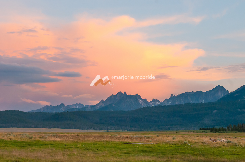 Colorful sunset over the Sawtooth Mountains in Stanley, Idaho.