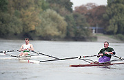"""Putney. London. GREAT BRITAIN;  Left. IRL LM1X, Niall O'TOOLE and NED LM1X, Frans GOEBEL.<br /> <br /> 1995 Thames World Sculling Championships, Putney to Mortlake. Championship Course, River Thames.<br /> <br /> [Mandatory Credit; """"Photo, Peter Spurrier/Intersport-images]"""
