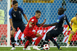 (l-r) Raphael Varane of France, Eden Hazard of Belgium, Ngolo Kante of France during the 2018 FIFA World Cup Semi Final match between France and Belgium at the Saint Petersburg Stadium on June 26, 2018 in Saint Petersburg, Russia