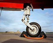 Iconic nosewheel portrait of a Hawk jet of the Red Arrows, Britain's RAF aerobatic team.