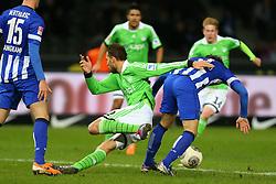 Football: Germany, 1. Bundesliga<br /> Bas Dost (VfL Wolfsburg), Lewan Kobiaschvili (Hertha BSC Berlin)
