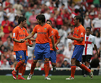 Photo: Lee Earle.<br /> Inter Milan v Valencia. The Emirates Cup. 28/07/2007.Valencia's David Villa (L) is congratulated after he scored their second goal.