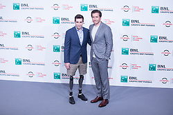 October 28, 2017 - Roma, RM, Italy - Photocall with US actor Jake Gyllenhaal and Jeff Bauman.during photocall for the ''Stronger'' movie on the third day of the Rome Film Festival. (Credit Image: © Matteo Nardone/Pacific Press via ZUMA Wire)