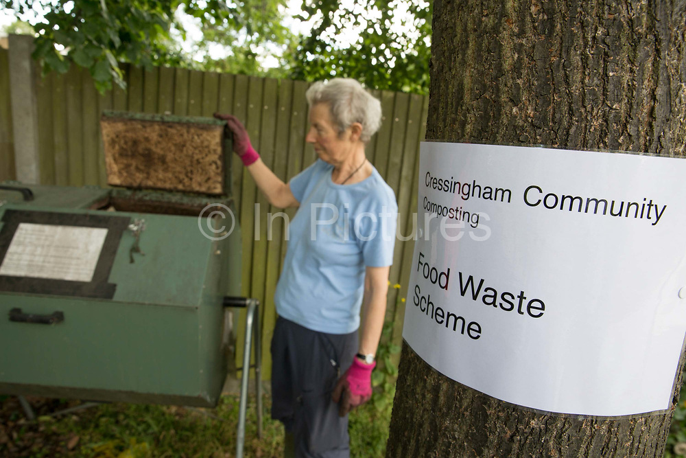 Cressingham Gardens community composting and food waste scheme on 13th June 2015 in South London, United Kingdom. Cressingham Gardens is a council garden estate, located on the southern edge of Brockwell Park. It comprises of 306 dwellings and built to the design of Lambeth Borough Council architect Edward Hollamby in the early 1970s. In 2012, Lambeth Council proposed regeneration of the estate, a decision highly opposed by many residents. Since the announcement, the highly motivated campaign group Save Cressingham Gardens has been active.