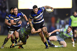 Matt Banahan of Bath Rugby takes on the Newcastle Falcons defence - Mandatory byline: Patrick Khachfe/JMP - 07966 386802 - 27/01/2018 - RUGBY UNION - The Recreation Ground - Bath, England - Bath Rugby v Newcastle Falcons - Anglo-Welsh Cup