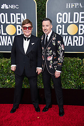 Nominee, Elton John, and David Furnish arrive at the 77th Annual Golden Globe Awards at the Beverly Hilton in Beverly Hills, CA on Sunday, January 5, 2020.