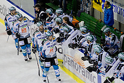 Players of EHC Liwest Linz celebrate during ice-hockey match between HDD Tilia Olimpija and EHC Liwest Black Wings Linz at second match in Semifinal  of EBEL league, on March 8, 2012 at Hala Tivoli, Ljubljana, Slovenia. (Photo By Matic Klansek Velej / Sportida)