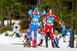 Evgeniy Garanichev (RUS) and Christian Gow (CAN) during Single Mixed Relay at day 1 of IBU Biathlon World Cup 2018/19 Pokljuka, on December 2, 2018 in Rudno polje, Pokljuka, Pokljuka, Slovenia. Photo by Ziga Zupan / Sportida