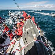 Leg 4, Melbourne to Hong Kong, day 01 on board MAPFRE, Leg start, MAPFRE followed by some spectators. Photo by Ugo Fonolla/Volvo Ocean Race. 02 January, 2018.