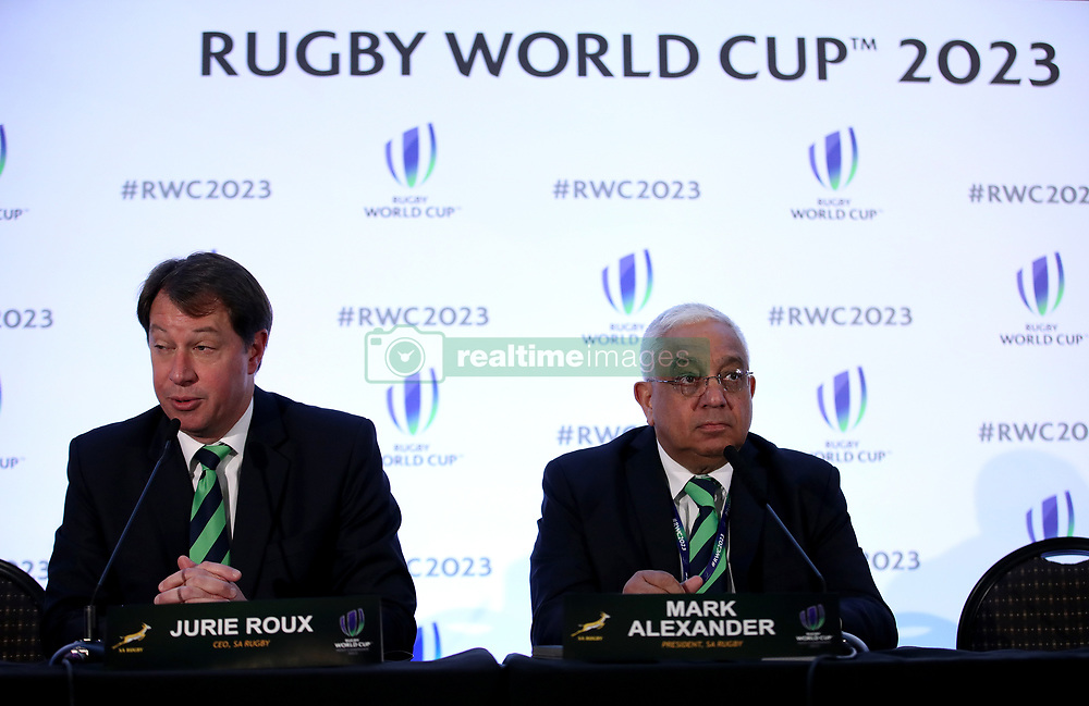 Jurie Roux, Chief Executive of SA Rugby (left) and Mark Alexander, President SA Rugby (right) during the 2023 Rugby World Cup host union announcement at The Royal Garden Hotel, Kensington.