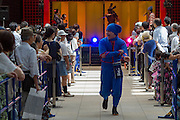 An actor dressed as a ninja during the Edo festival at Haneda International Airport terminal, Tokyo, Japan. Friday August 26th 2016. The 3 day festival runs from August 26th to August 28th at Tokyo's second International airport. Actors dressed as samurai, geisha and ninja will greet passengers and visitors to the terminal and put on shows and parades of traditional music and dance. Haneda International airport has an Edo theme. Edo is the old name for Tokyo in the time of the samurai