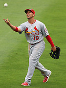 ATLANTA, GA - JULY 27:  Centerfielder John Jay #19 of the St. Louis Cardinals warms up between innings during the game against the Atlanta Braves at Turner Field on July 27, 2013 in Atlanta, Georgia.  (Photo by Mike Zarrilli/Getty Images)