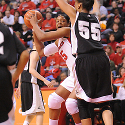Feb 21, 2009; Piscataway, NJ, USA; Rutgers center Kia Vaughn (15) looks for an open pass during the first half of Rutgers' 55-42 victory over Providence at the Louis Brown Athletic Center.