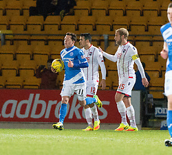 St Johnstone's Danny Swanson celebrates after scoring their first goal. St Johnstone 2 v 4 Ross County. SPFL Ladbrokes Premiership game played 19/11/2016 at St Johnstone's home ground, McDiarmid Park.