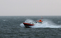 © Licensed to London News Pictures. <br /> 11/01/2017. <br /> Redcar, UK.  <br /> <br /> The River Tees Pilot boat enters the port of Tees at South Gare near Redcar as heavy winds affect many parts of the country. <br /> <br /> <br /> <br /> <br /> Photo credit: Ian Forsyth/LNP