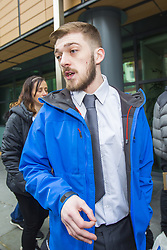 February 5, 2018 - Liverpool, Merseyside, UK - Liverpool, UK. Tom Evans, father of Alfie Evans arrives at Liverpool Civil & Family Court this morning. Tom Evans and Kate James from Liverpool are in dispute with medics looking after their son 19-month-old son Alfie Evans, at Alder Hey Children's Hospital in Liverpool. Alfie is in a ''semi-vegetative state'' and had a degenerative neurological condition doctors have not definitively diagnosed. Specialists at Alder Hey say continuing life-support treatment is not in Alfie's best interests but the boy's parents want permission to fly their son to a hospital in Rome for possible diagnosis and treatment. (Credit Image: © Andrew Mccaren/London News Pictures via ZUMA Wire)