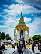 22 OCTOBER 2017 - BANGKOK, THAILAND: The replica crematorium south of the flower market. The street in front features elaborate displays in the late king's honor. The King died in October 2016 and will be cremated on 26 October 2017.     PHOTO BY JACK KURTZ