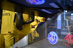 PSG's logo is seen on the window of the Paris Saint-Germain football club's store on the Champs-Elysees avenue on August 3, 2017 in Paris, France. Neymar is set to complete a world-record move to Paris Saint-Germain worth around €402m in fees and wages after telling Barcelona he is leaving. PSG have given the go‑ahead for the forward's buyout fee of €222m to be handed over at the Spanish football federation offices, the protocol required to clear the transfer. Neymar, who flew to Porto on Wednesday for his medical, is expected to be presented in Paris this week. Photo by Eliot Blondet/ABACAPRESS.COM