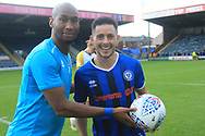 Calvin Andrew crashes Ian Henderson getting the match ball during the EFL Sky Bet League 1 match between Rochdale and Gillingham at Spotland, Rochdale, England on 15 September 2018.