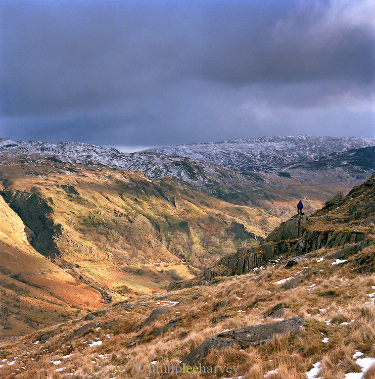 Panoramic landscape of Snowdonia National Park, north Wales, UK