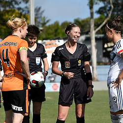 BRISBANE, AUSTRALIA - JANUARY 1: Clare Polkinghorne of the Roar and Christine Nairn of the Victory toss the coin during the round 10 Westfield W-League match between the Brisbane Roar and Melbourne Victory at AJ Kelly Park on January 1, 2017 in Brisbane, Australia. (Photo by Patrick Kearney/Brisbane Roar)