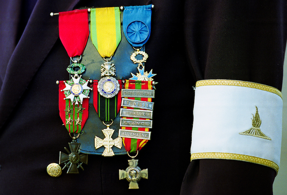 Veterans medals worn for parade for Remembrance Day at the Arc de Triomphe in Paris, France