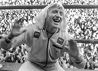 Pop idol, disc jockey, television presenter, Jimmy Savile, UK, performing at Pop Concert, Nutt's Corner, near Belfast, N Ireland, 23rd September 1973. 197309230589b<br /> <br /> Copyright Image from Victor Patterson, 54 Dorchester Park, Belfast, UK, BT9 6RJ<br /> <br /> t1: +44 28 9066 1296 (from Rep of Ireland 048 9066 1296)<br /> t2: +44 28 9002 2446 (from Rep of Ireland 048 9002 2446)<br /> m: +44 7802 353836<br /> <br /> victorpattersonbelfast@gmail.com<br /> victorpatterson@me.com<br /> <br /> www.victorpatterson.com<br /> <br /> Please see my Terms and Conditions of Use at https://www.victorpatterson.com/page2<br /> It is IMPORTANT that you familiarise yourself with them.<br /> <br /> Images used on the Internet incur an additional cost and must be visibly watermarked i.e. © Victor Patterson within the body of the image and copyright metadata must not be deleted. Images used on the Internet have a size restriction of 4kbs and are chargeable at rates available at victorpatterson.com.<br /> <br /> This image is available only for the use of the download recipient i.e. television station, newspaper, magazine, book publisher, etc, and must not be passed on to any third party. It is also downloaded on condition that each and every usage is notified within 7 days to victorpatterson@me.com<br /> <br /> The right of Victor Patterson (or the named photographer) to be identified as the author is asserted in accordance with The Copyright Designs And Patents Act (1988). All moral rights are asserted.