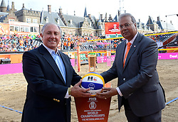 20150705 NED: WK Beachvolleybal day 10, Den Haag<br /> De gouden Wereldbeker, trophy, FIVB President Dr. Ary S. Graca, Wethouder Rabin Baldewsingh van Den Haag