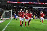 Joe Ledley of Wales (l) celebrates with Jonathan Williams after he scores his teams 1st goal to make it 1-1. Vauxhall International football friendly, Wales v The Netherlands at the Cardiff city stadium in Cardiff, South Wales on Friday 13th November 2015. pic by Andrew Orchard, Andrew Orchard sports photography.