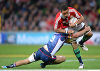 25 June 2013; Toby Faletau, British & Irish Lions, is tackled by Rory Sidey, Melbourne Rebels. British & Irish Lions Tour 2013, Melbourne Rebels v British & Irish Lions. AAMI Park, Olympic Boulevard, Melbourne, Australia. Picture credit: Stephen McCarthy / SPORTSFILE