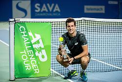 Winner Aljaz Bedene of Slovenia posing at trophy ceremony after the Final match at Day 10 of ATP Challenger Zavarovalnica Sava Slovenia Open 2019, on August 18, 2019 in Sports centre, Portoroz/Portorose, Slovenia. Photo by Vid Ponikvar / Sportida
