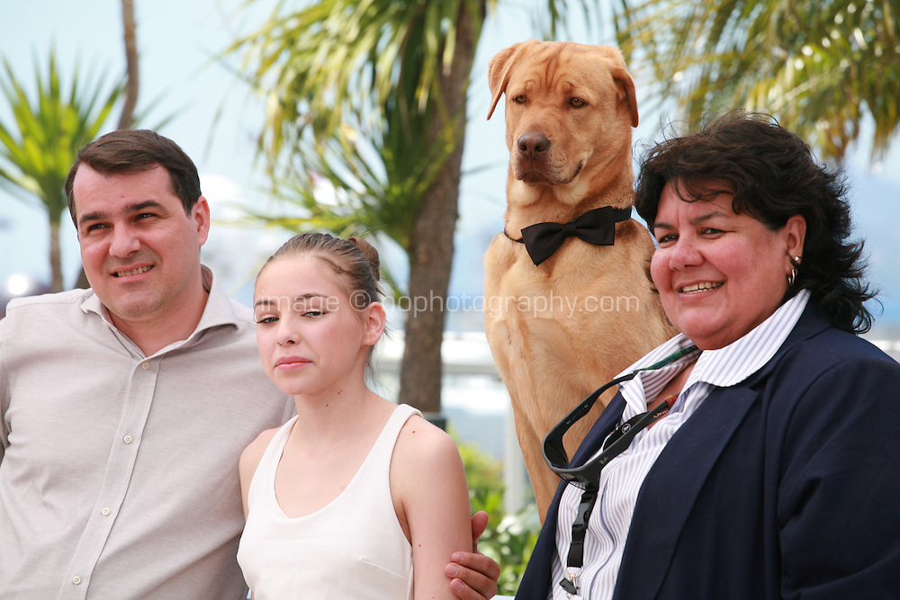 Director Kornel Mundruczo, actress Zsofia Psotta, Hagen the dog and animal trainer Teresa Ann Miller at the photo call for the film White God (Feher Isten) at the 67th Cannes Film Festival, Saturday 17th May 2014, Cannes, France.