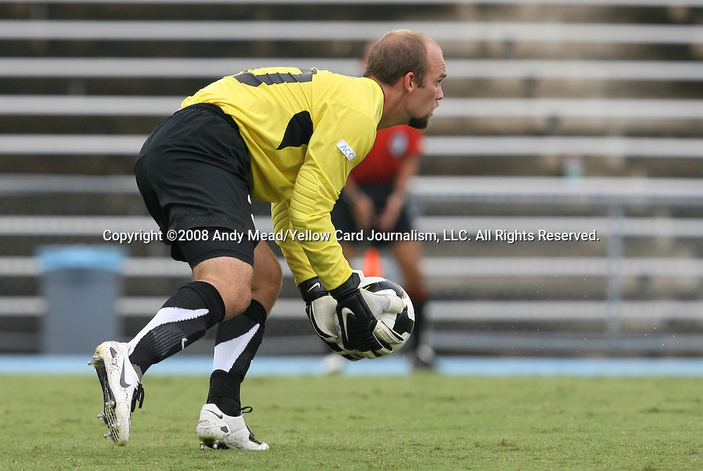 31 August 2008: UNC's Jacob Wescoe. The University of North Carolina Tar Heels defeated the Virginia Commonwealth University Rams 1-0 in overtime at Fetzer Field in Chapel Hill, North Carolina in an NCAA Division I Men's college soccer game.