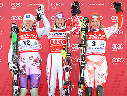 04.02.2011, Arber Zwiesel, GER, FIS World Cup Ski Alpin, Lady, Slalom, im Bild Siegerpodest Marlies Schild (AUT, #2) // Marlies Schild (AUT), Veronika Zuzulova (SVK, #12) // Veronika Zuzulova (SVK) und Tanja Poutiainen (FIN, #3) // Tanja Poutiainen (FIN) // during FIS Ski Worldcup ladies Slalom at Arber Zwiesel, Germany on 04/02/2011. EXPA Pictures © 2011, PhotoCredit: EXPA/ R. Hackl